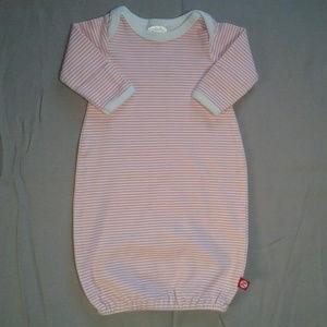 Zutano Pink White Striped Sleep Gown Newborn